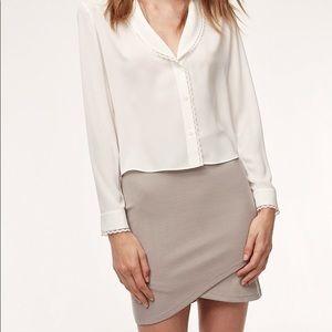 ARITZIA   Primrose Mini Faux Wrap Skirt Ashen XS